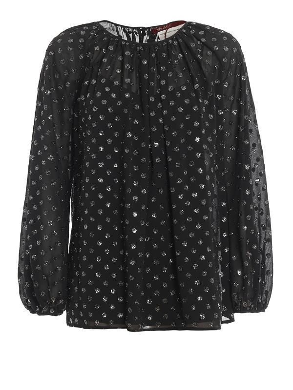 Max Mara Giulia Glitter-embellished Georgette Blouse In Black