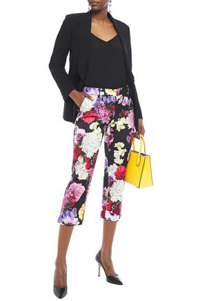 Dolce & Gabbana Cropped Cotton-blend Floral-jacquard Slim-leg Pants In Black