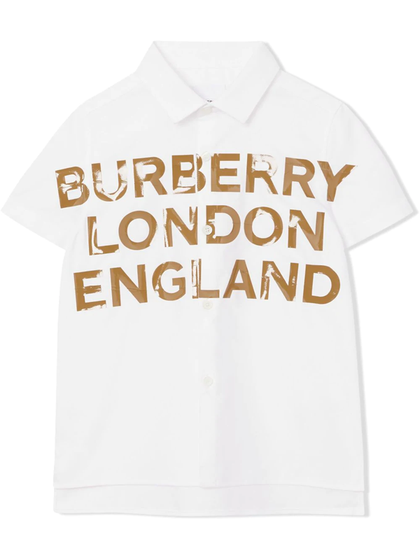 Burberry Kids' Logo Print Cotton Poplin Shirt In White