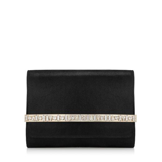 61e3839321b Jimmy Choo Bow Black Shimmer Suede Clutch Bag With Crystal Bar ...