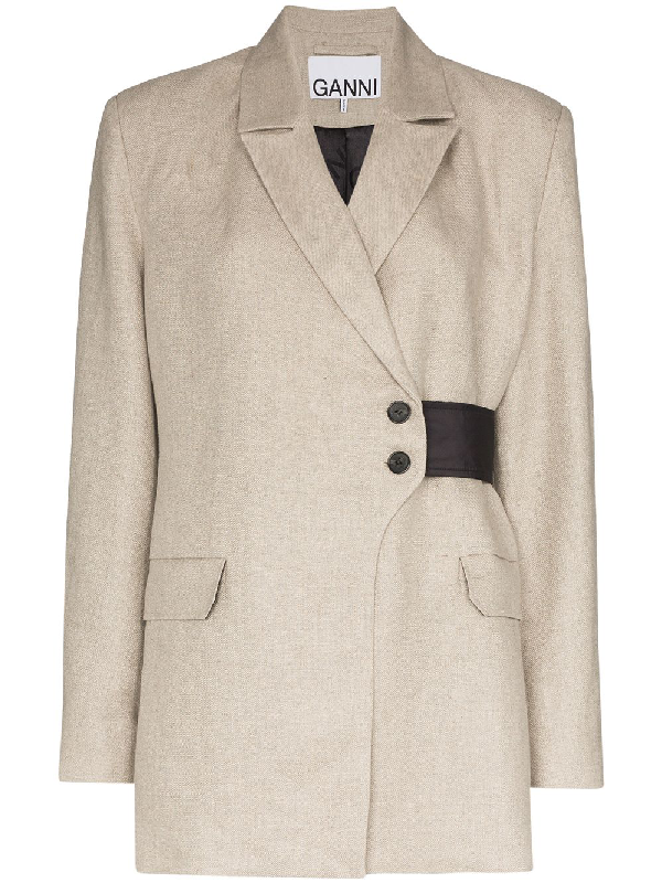 Ganni Wrap-detail Blazer Jacket In Neutrals