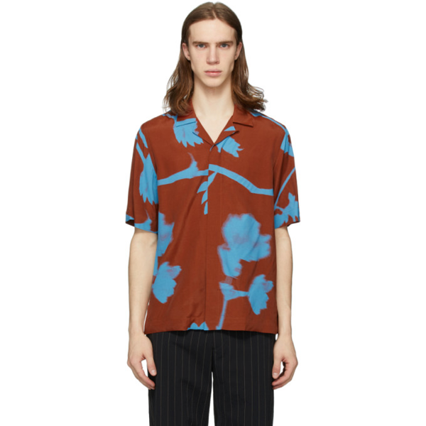 Paul Smith Men's Floral Camp Shirt In 19 Brwnblue