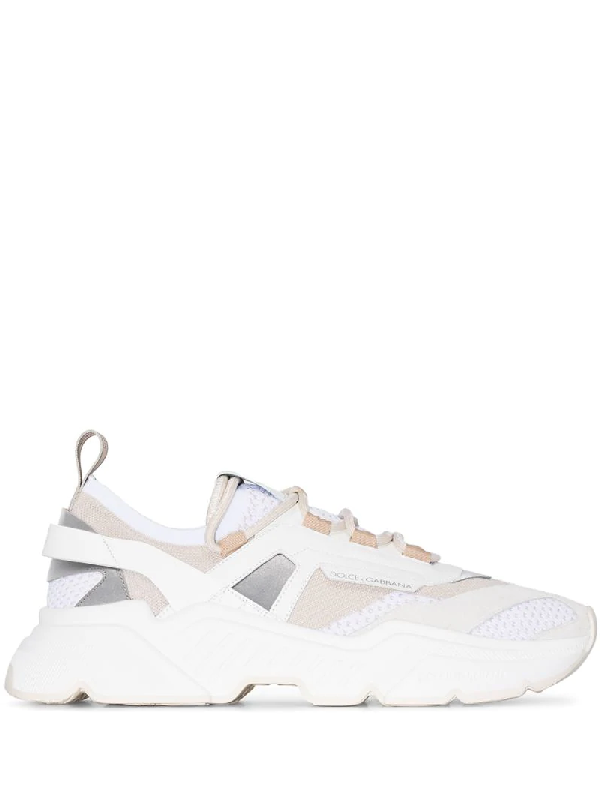 Dolce & Gabbana Daymaster Leather, Suede And Mesh Trainers In White