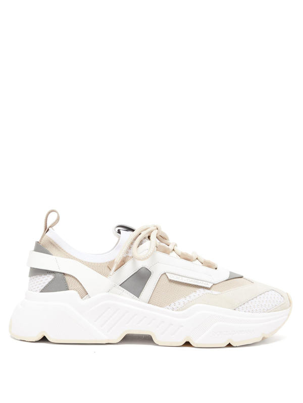 Dolce & Gabbana Dolce And Gabbana Beige Stretch Knit Daymaster Sneakers In 87769multi3