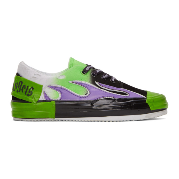 Palm Angels Green And Black Flame Sneakers In Green Multi