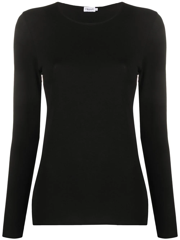 Filippa K Cotton Stretch Long Sleeve In Black