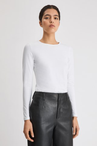Filippa K Cotton Stretch Long Sleeve In White