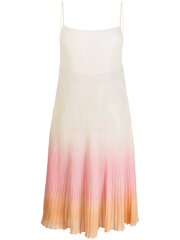 Jacquemus Helado Pleated Cotton Blend Knit Dress In Neutrals