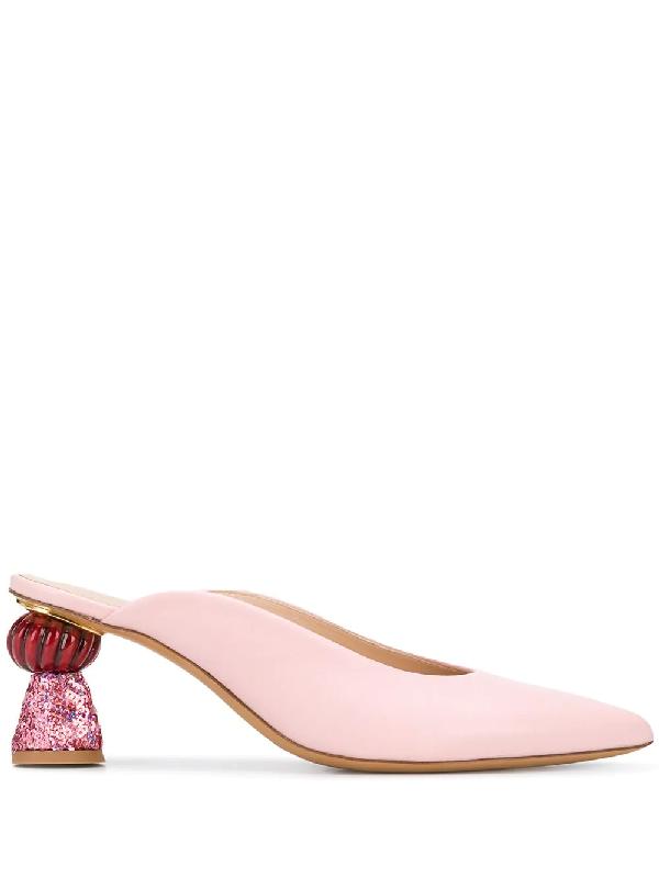 Jacquemus Maceio Jewel-heel Leather Mules In Pink