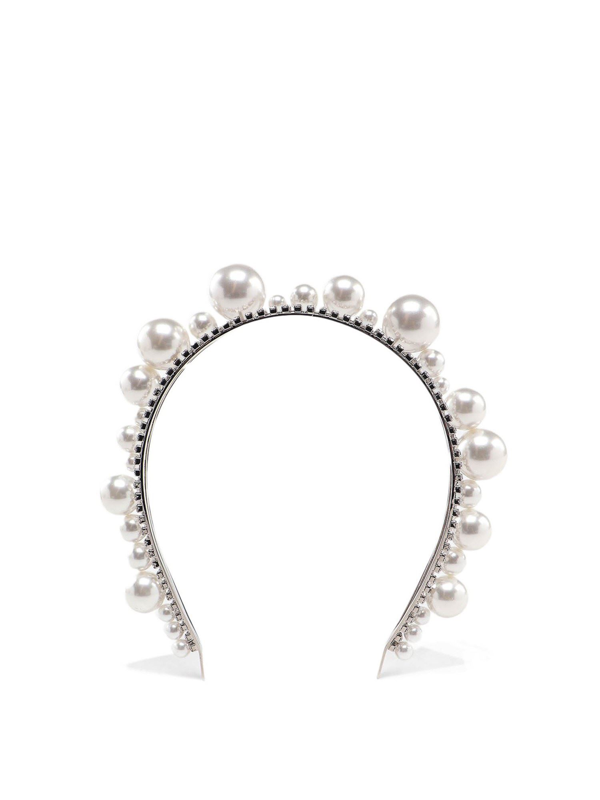 Givenchy Ariana Pearls And Crystals Jewel Headband In Silver