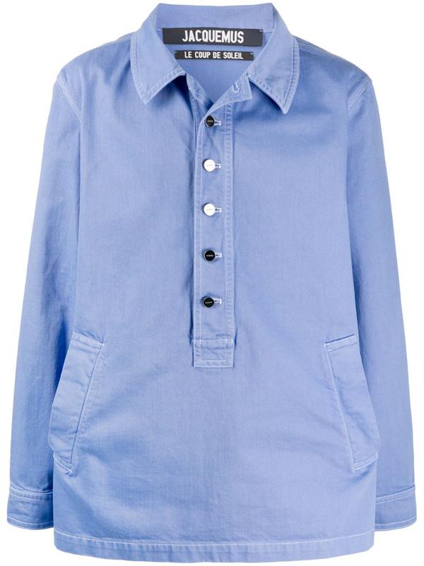 Jacquemus La Vareuse De Nimes Cotton Blouse In Blue