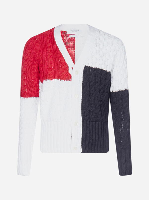 Thom Browne Cardigan Color-block In Cotone A Trecce In Red - Blue - White