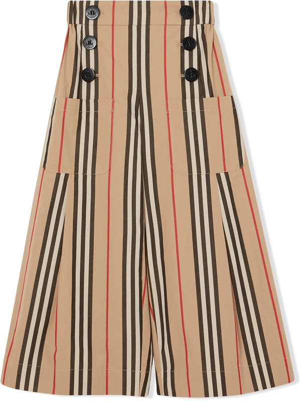 Burberry Kids' Icon Stripe Cotton Sailor Trousers In Neutrals