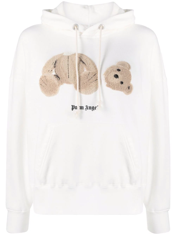 Palm Angels Bear Over Hoody Sweatshirt In White Cotton In Off White