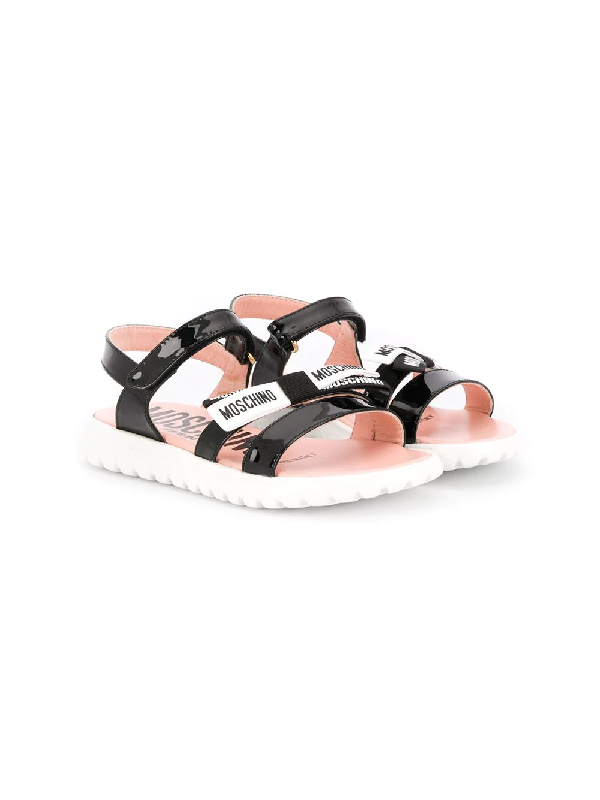 Moschino Teen Logo Touch-strap Sandals In Black
