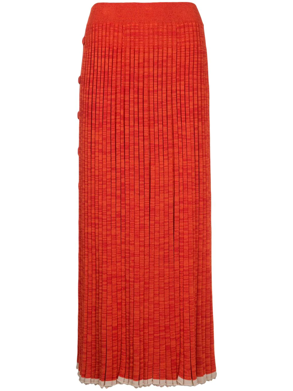 Christopher Esber Button-detail Pleated Knit Maxi Dress In Orange