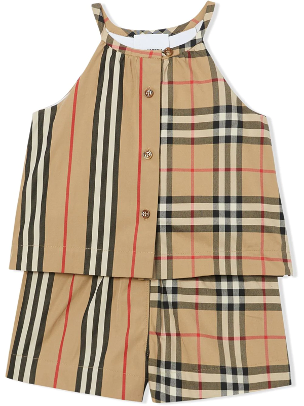 Burberry Babies' Vintage Check And Icon Stripe Tracksuit Set In Neutrals