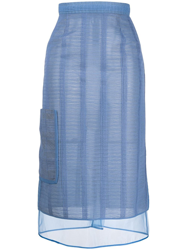 Marco De Vincenzo Abstract Pattern Sheer Skirt In Blue