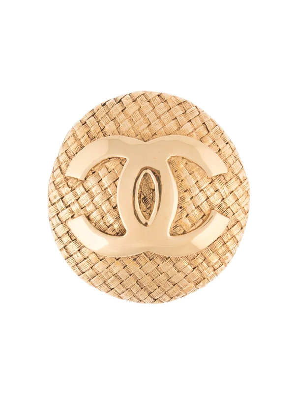 Chanel 2002 Cc Logo Woven-effect Brooch In Gold