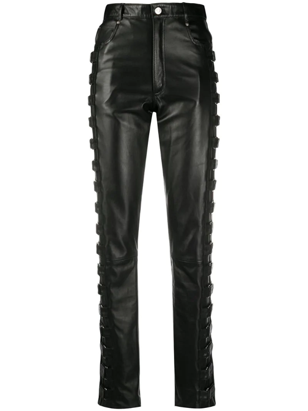 Manokhi Leather High Waisted Trousers In Black