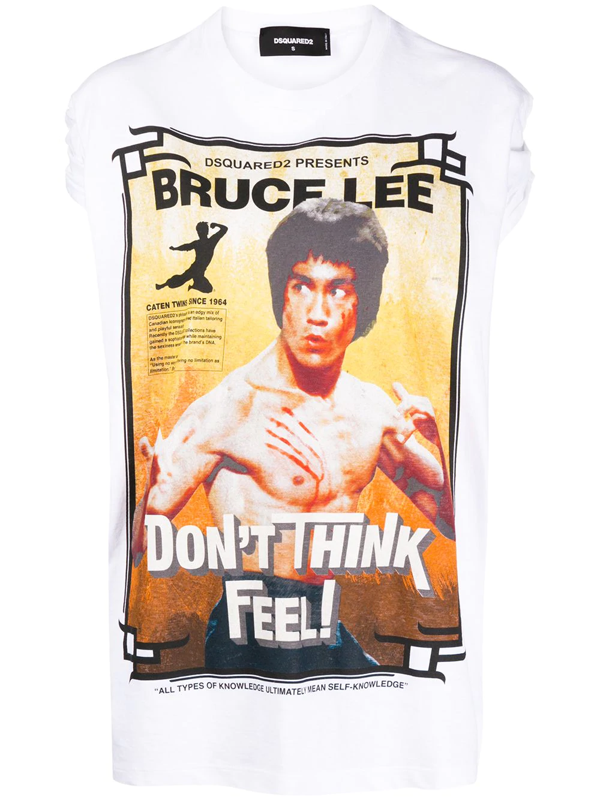 Dsquared2 Bruce Lee Print T-shirt In White