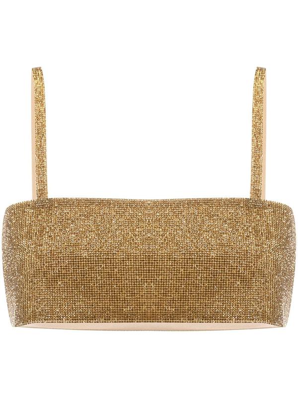 Nué Charlotte Crystal-embellished Top In Gold