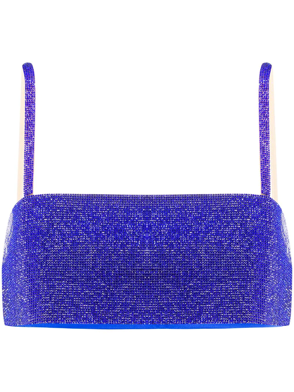 Nué Charlotte Crystal-embellished Top In Blue