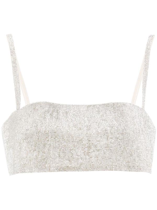 Nué Crystal-embellished Bra Top In Silver