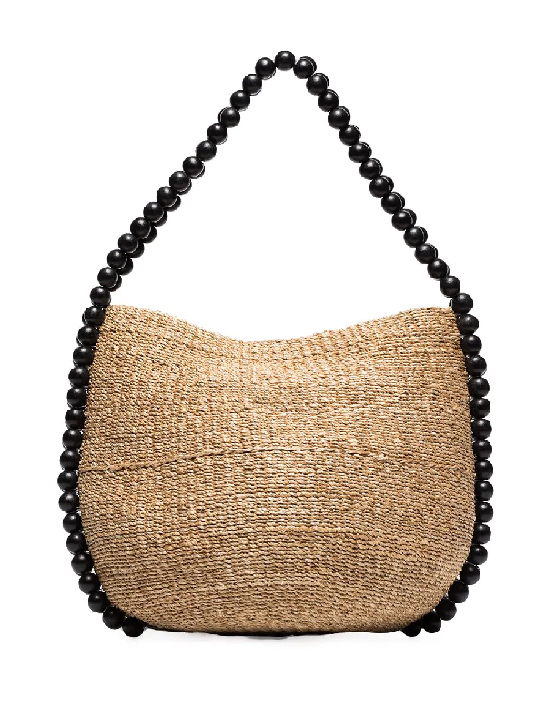 Aranaz Nahla Beaded Raffia Bucket Bag In Neutrals