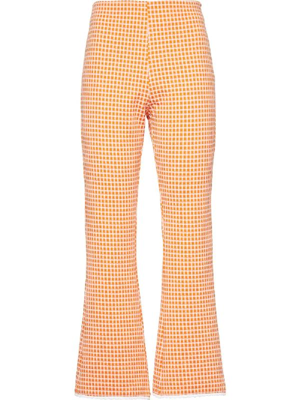 Miu Miu Checked Flared Trousers In Orange