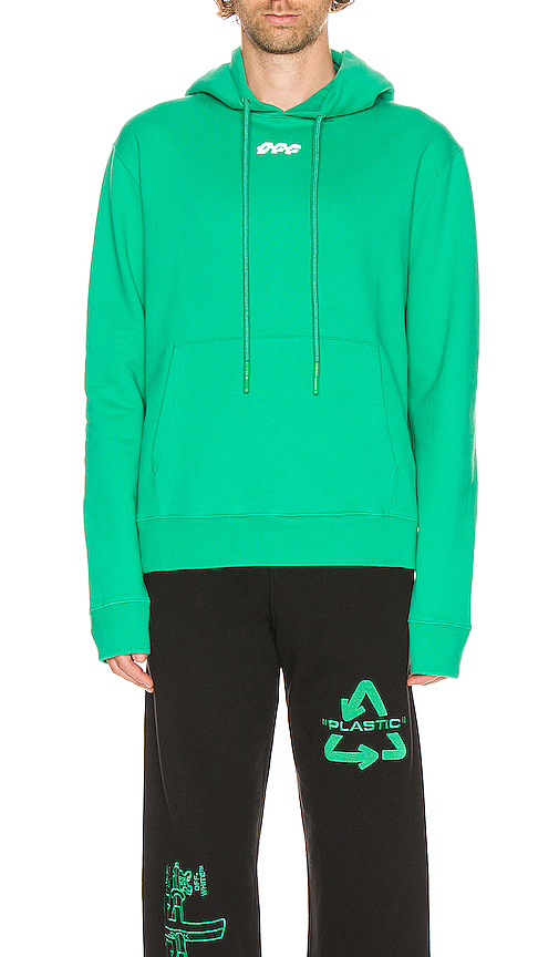 Off-white Disrupted Font Slim Hoodie In Mint & White