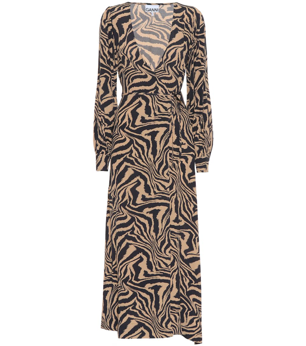 Ganni Tiger-print Crepe Wrap Midi Dress In Animal