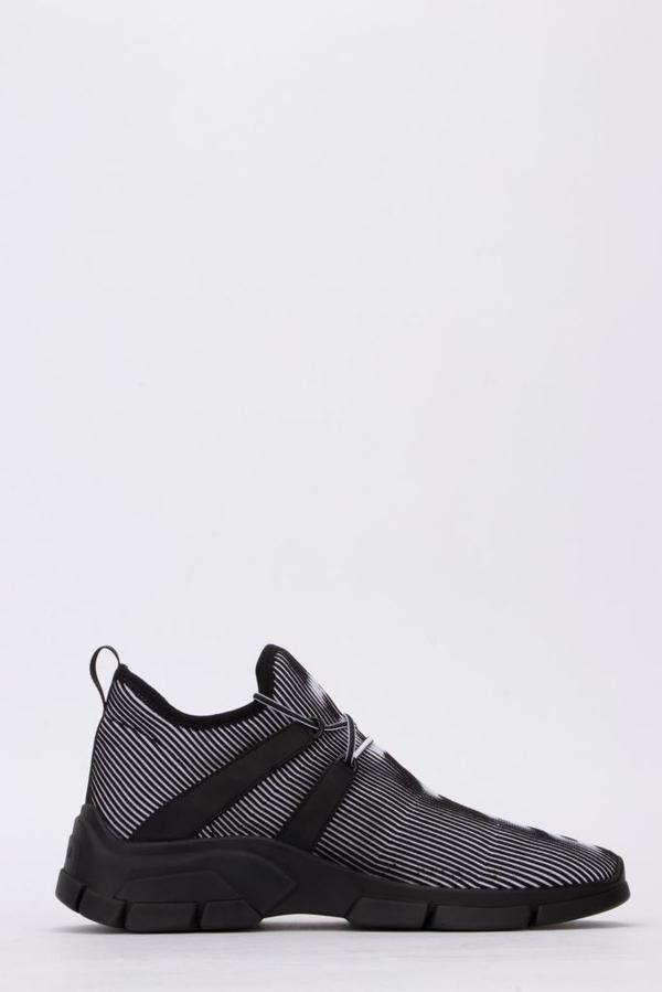Prada Men's Logo Knit Row Sneakers In Multi