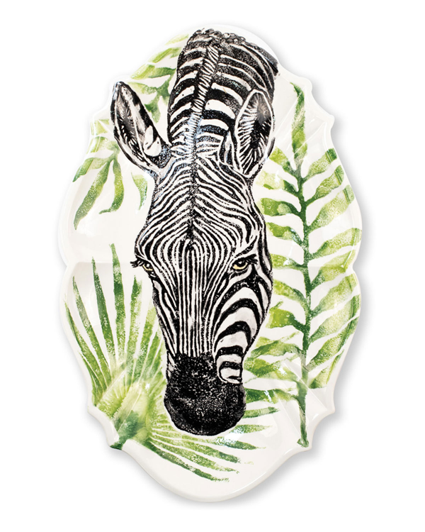Vietri Into The Jungle Zebra Scallop Large Oval Platter In Handpainted