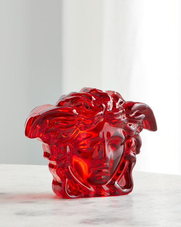 Versace Medusa Lumiere Crystal Paperweight In Red