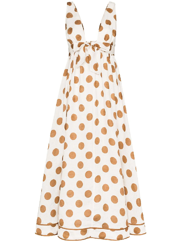 Zimmermann Empire Tie-detailed Polka-dot Cotton Maxi Dress In Brown