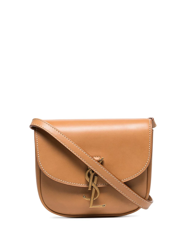 Saint Laurent Kaia Small Ysl-plaque Leather Cross-body Bag In Brown