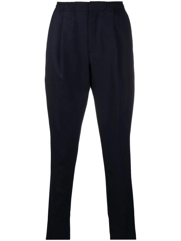 Officine Generale Men's Drew Flannel Wool Dress Pants In Blue