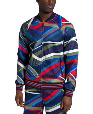 Sean John Men's Allover Curve Print Track Jacket In Night Sky
