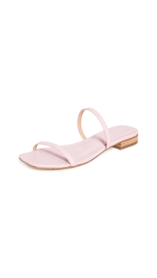 Jaggar Sprung Double Strap Flats In Sea Pink