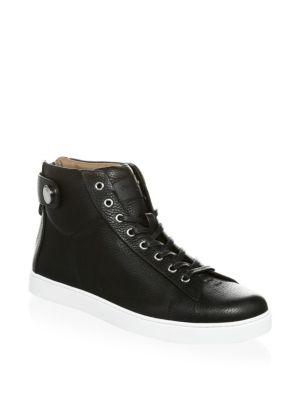 Gianvito Rossi Grain Leather Strap Mid Sneakers In Black