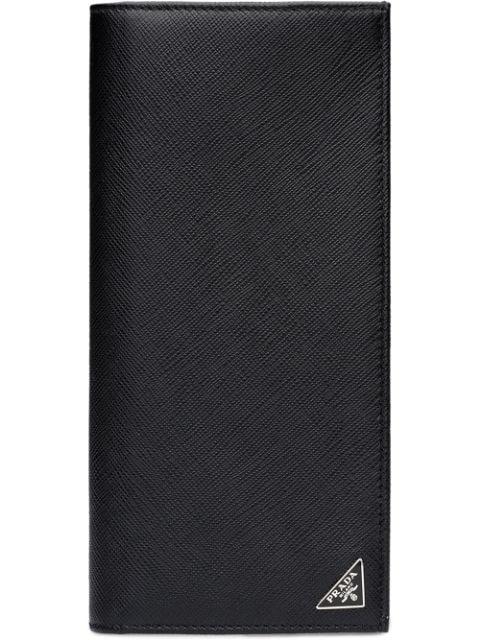 Prada Bi-fold Saffiano-leather Wallet In Black