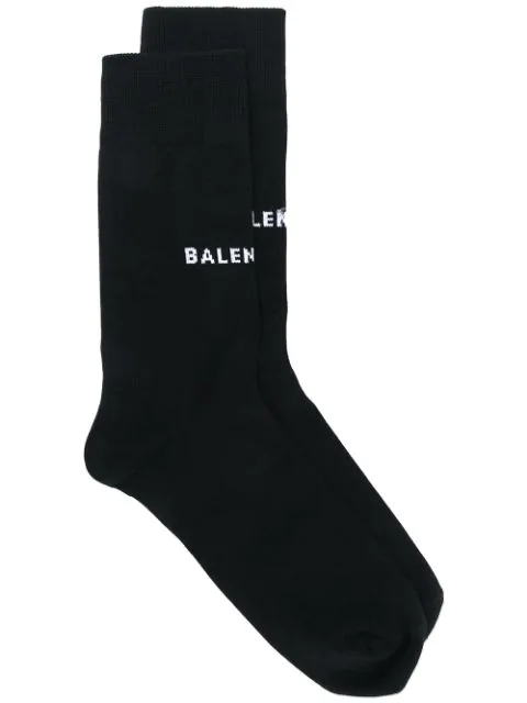 Balenciaga Logo Printed Socks In Black