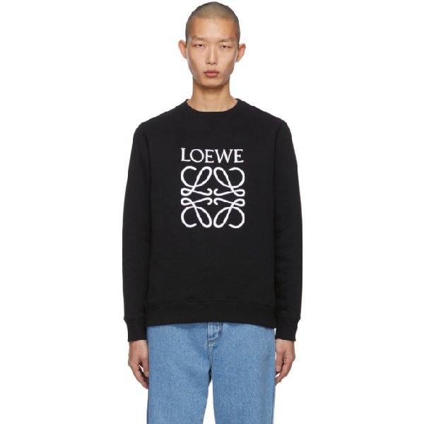 Loewe Slim-fit Logo-embroidered Loopback Cotton-jersey Sweatshirt In 1100 Black