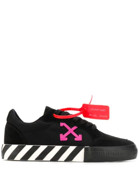 Off-white Low Vulcanized Canvas And Suede Sneakers In Black
