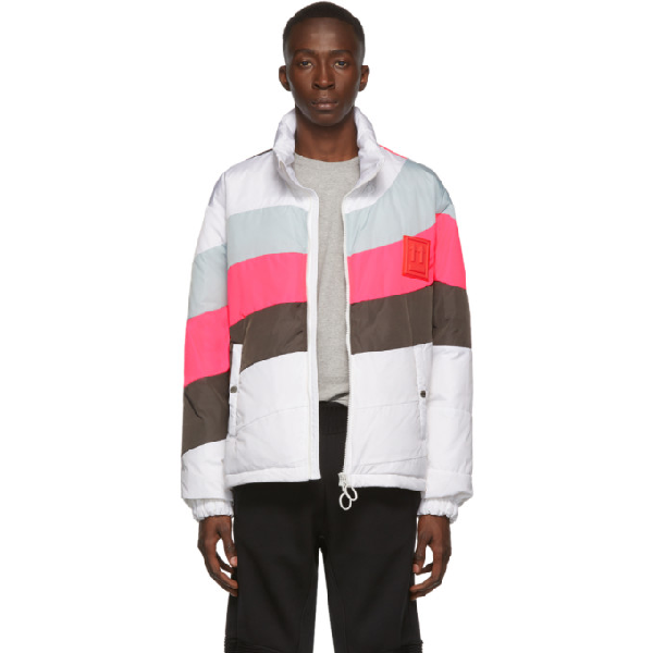 """Off-white White """"anorak"""" Down Jacket With Pink And Grey Details In Wht Gry"""