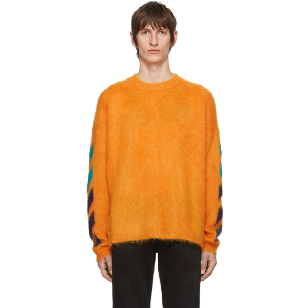 Off-white Logo Brushed Mohair Crewneck Sweater In Orange Mult