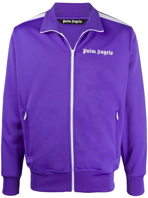 Palm Angels Printed Logo Track Jacket In Purple