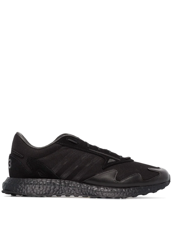 Y-3 Rhisu Run Suede And Leather-trimmed Mesh Sneakers In Black