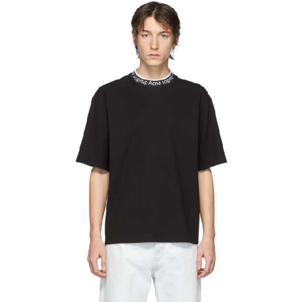 Acne Studios Logo-collar Stretch-jersey T-shirt In Black